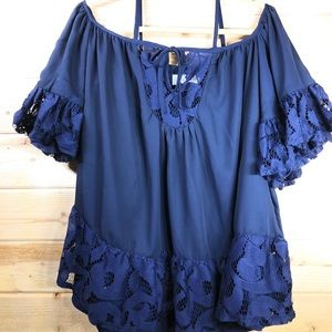 NWT Tularosa Navy Top With Lace Trim